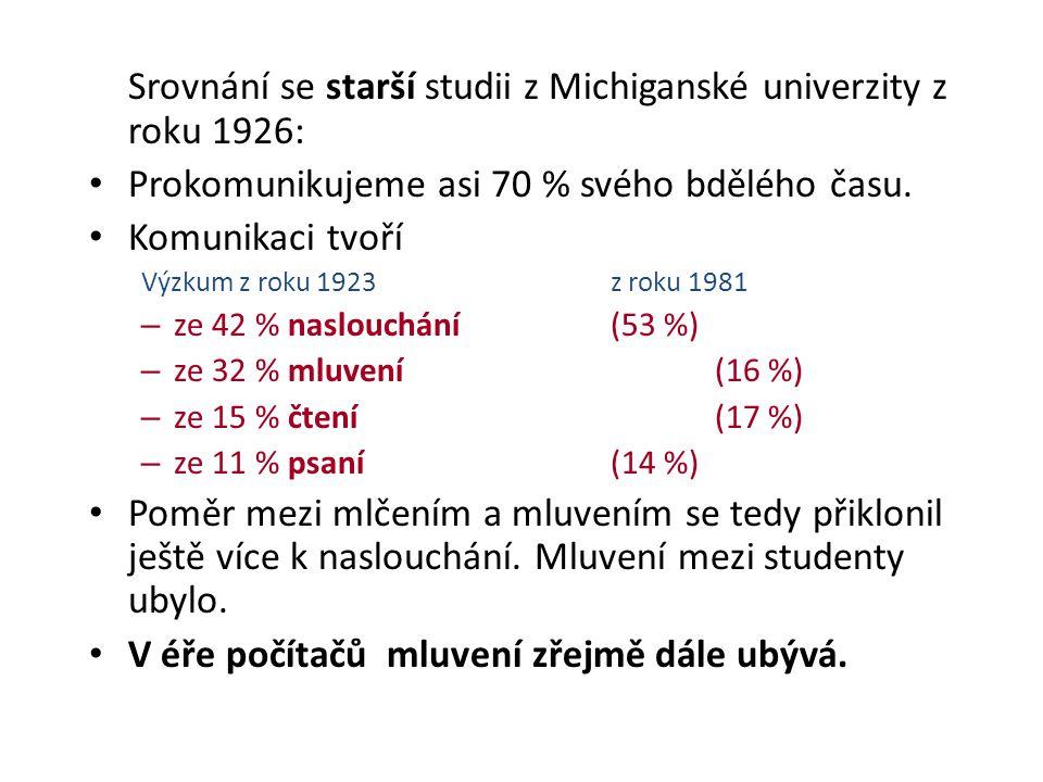 Srovnání se starší studii z Michiganské univerzity z roku 1926: