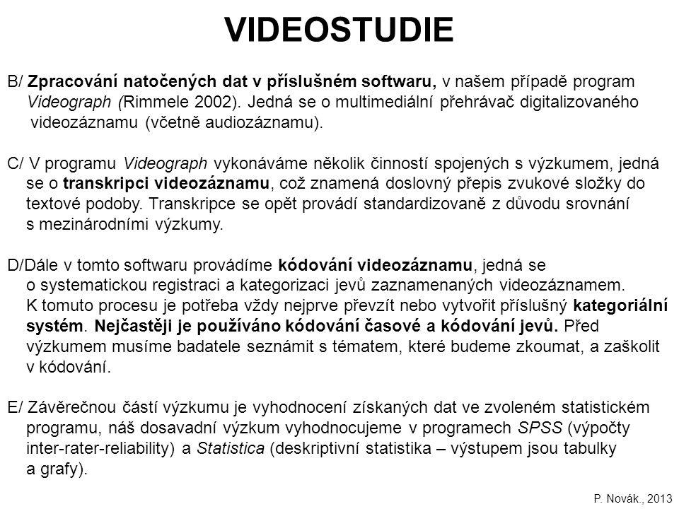 VIDEOSTUDIE B/ Zpracování natočených dat v příslušném softwaru, v našem případě program.
