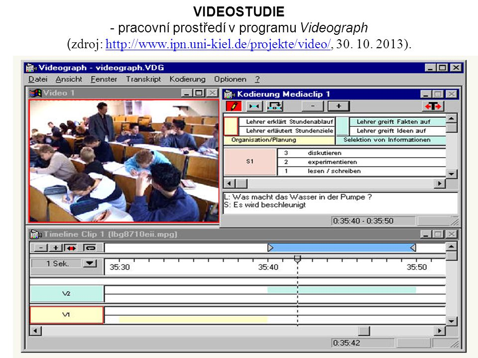 - pracovní prostředí v programu Videograph
