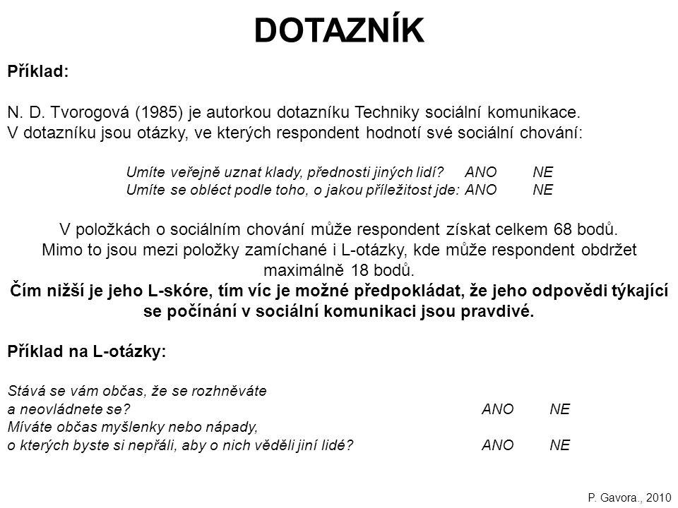 DOTAZNÍK Příklad: N. D. Tvorogová (1985) je autorkou dotazníku Techniky sociální komunikace.