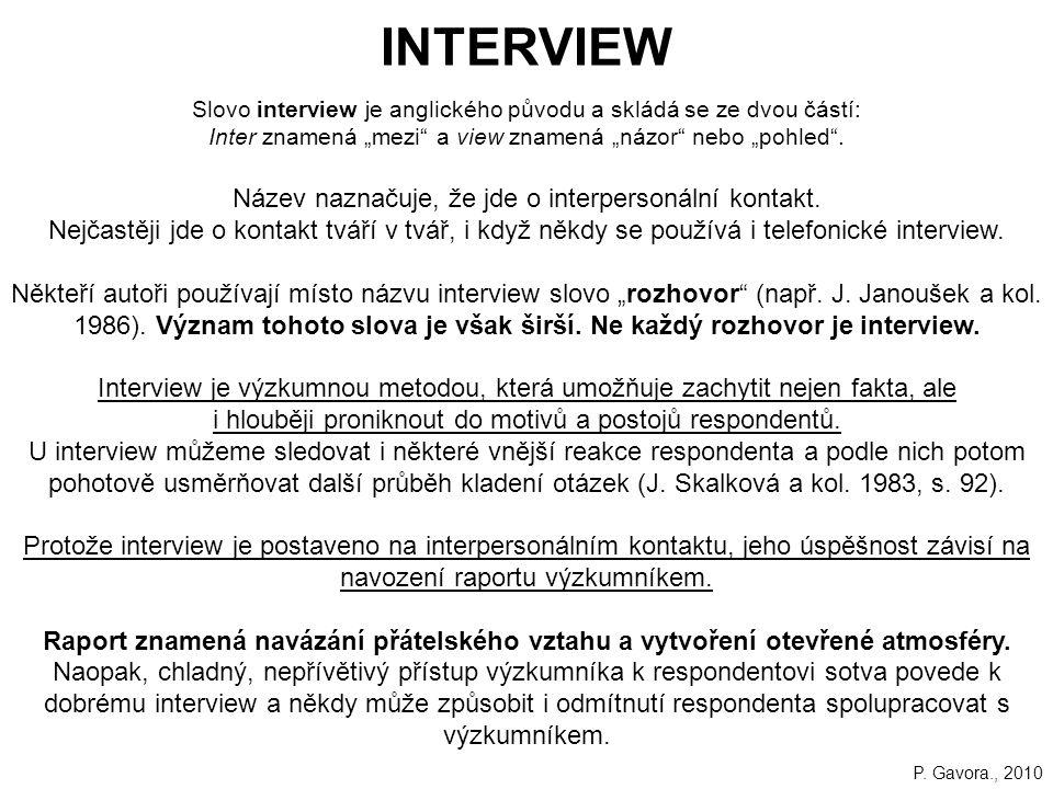 INTERVIEW Název naznačuje, že jde o interpersonální kontakt.