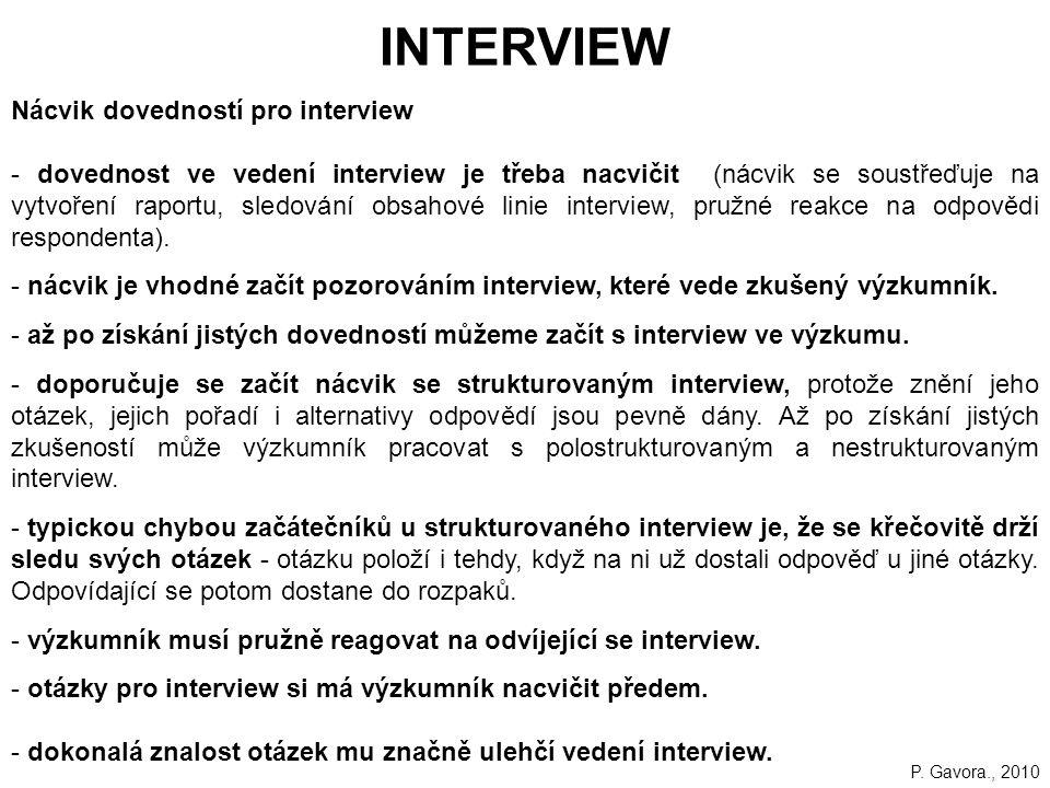 INTERVIEW Nácvik dovedností pro interview