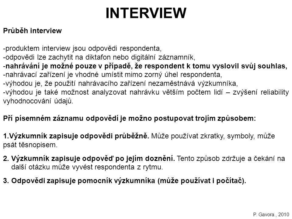 INTERVIEW Průběh interview