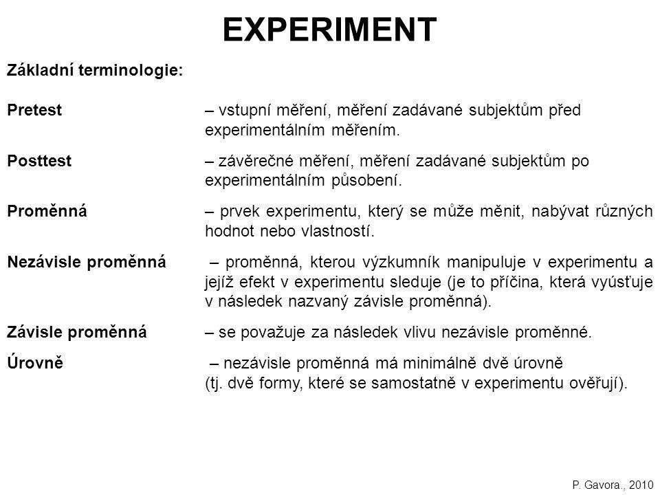 EXPERIMENT Základní terminologie: