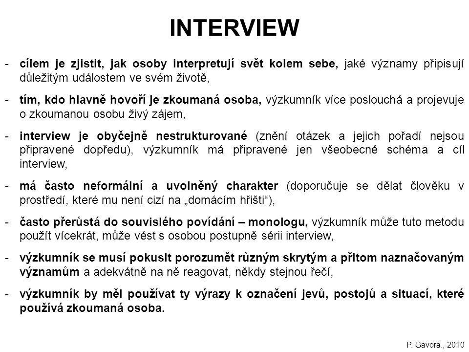 INTERVIEW cílem je zjistit, jak osoby interpretují svět kolem sebe, jaké významy připisují důležitým událostem ve svém životě,