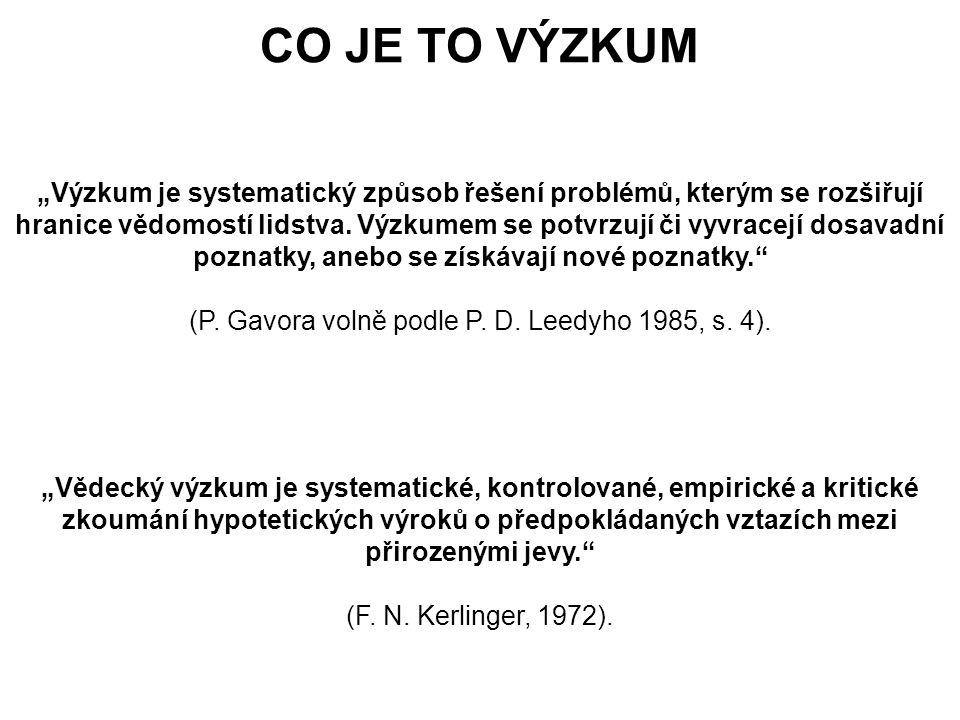 """CO JE TO VÝZKUM """"Výzkum je systematický způsob řešení problémů, kterým se rozšiřují."""