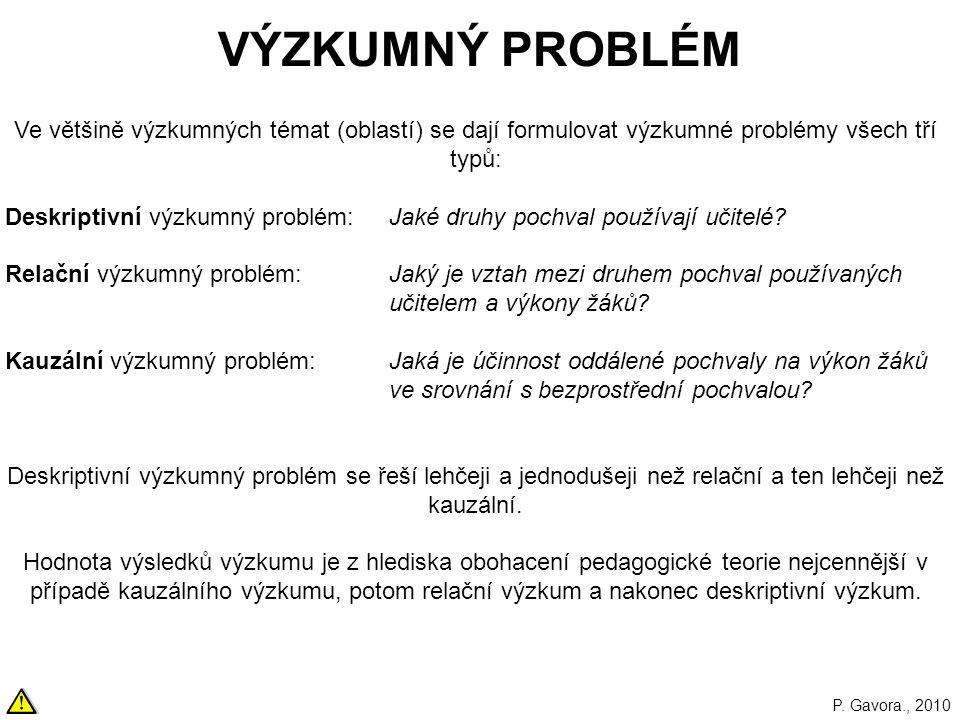VÝZKUMNÝ PROBLÉM Ve většině výzkumných témat (oblastí) se dají formulovat výzkumné problémy všech tří typů:
