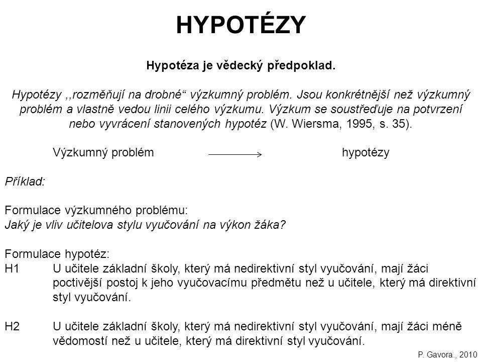 Hypotéza je vědecký předpoklad.