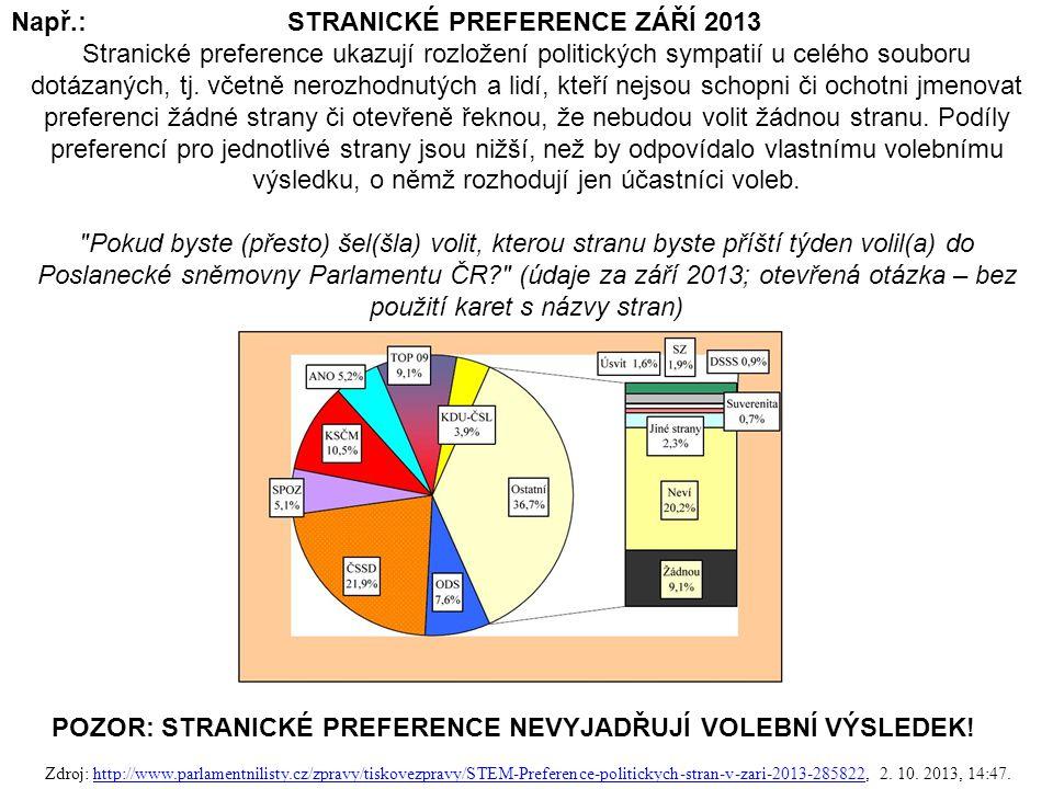 Např.: STRANICKÉ PREFERENCE ZÁŘÍ 2013