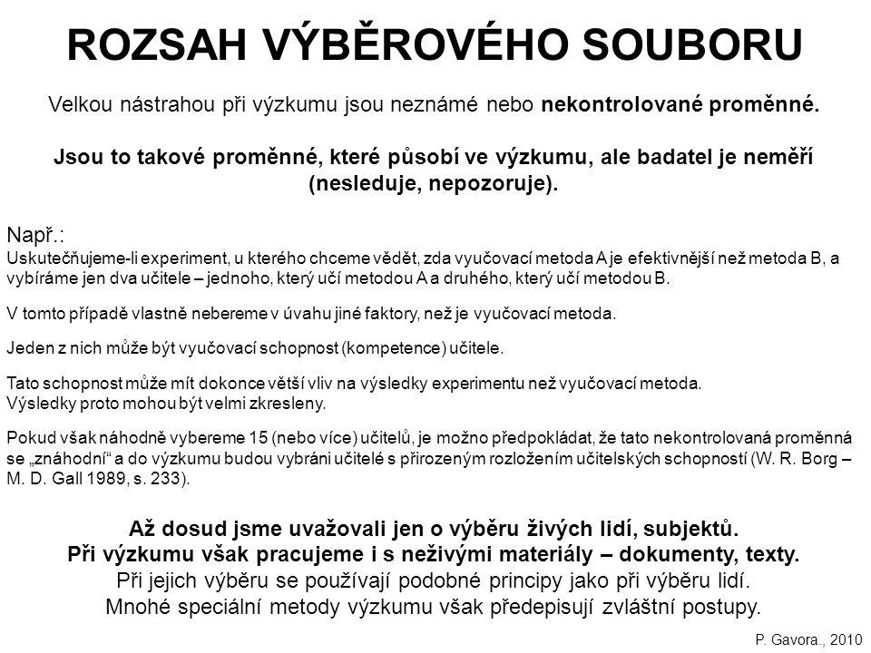 ROZSAH VÝBĚROVÉHO SOUBORU