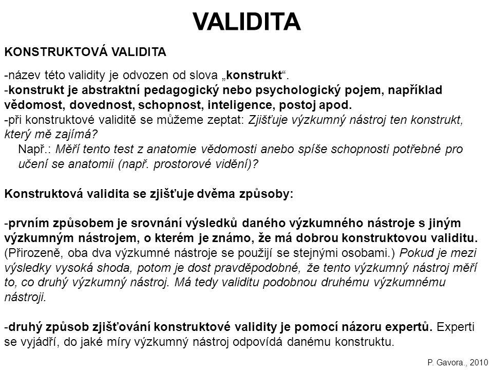 VALIDITA KONSTRUKTOVÁ VALIDITA