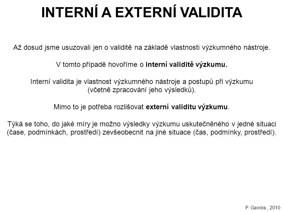 INTERNÍ A EXTERNÍ VALIDITA