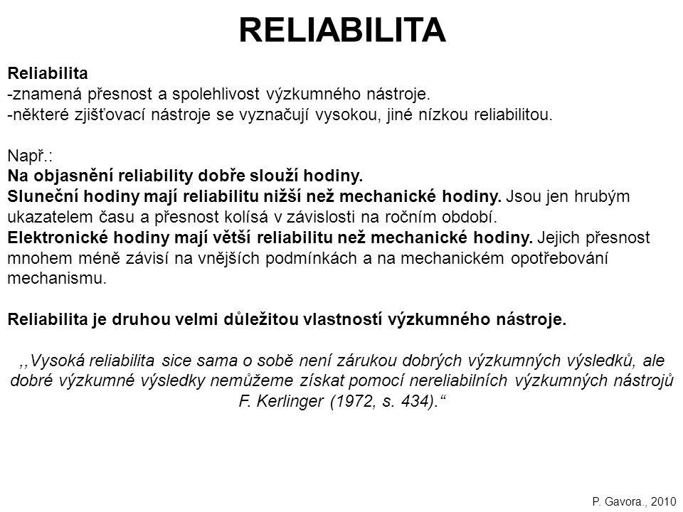 RELIABILITA Reliabilita