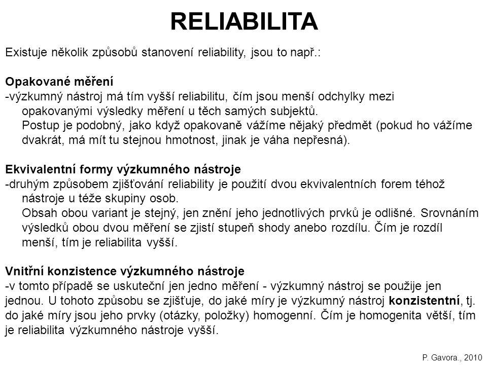 RELIABILITA Existuje několik způsobů stanovení reliability, jsou to např.: Opakované měření.