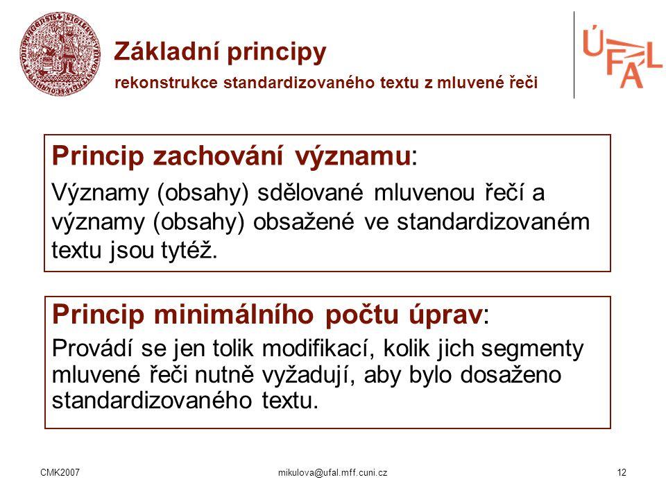Základní principy rekonstrukce standardizovaného textu z mluvené řeči