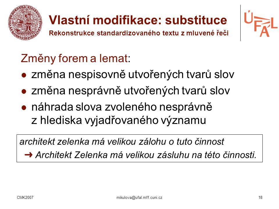 Vlastní modifikace: substituce