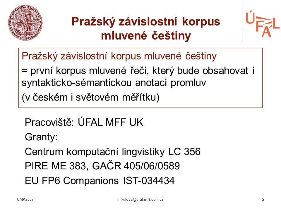 Pražský závislostní korpus mluvené češtiny