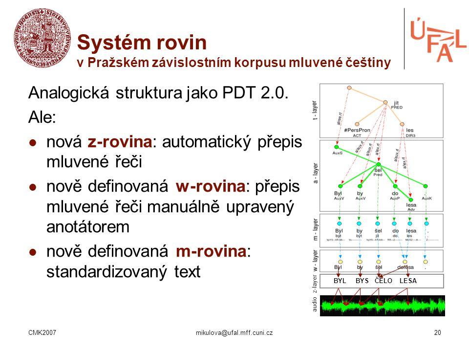 Systém rovin v Pražském závislostním korpusu mluvené češtiny