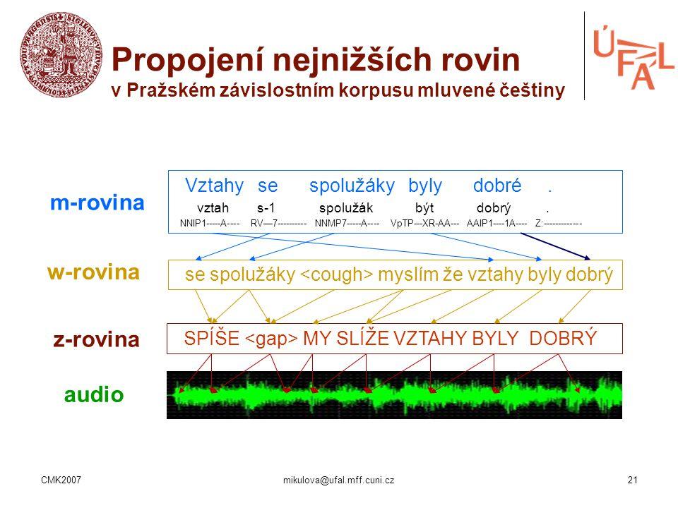 Propojení nejnižších rovin v Pražském závislostním korpusu mluvené češtiny