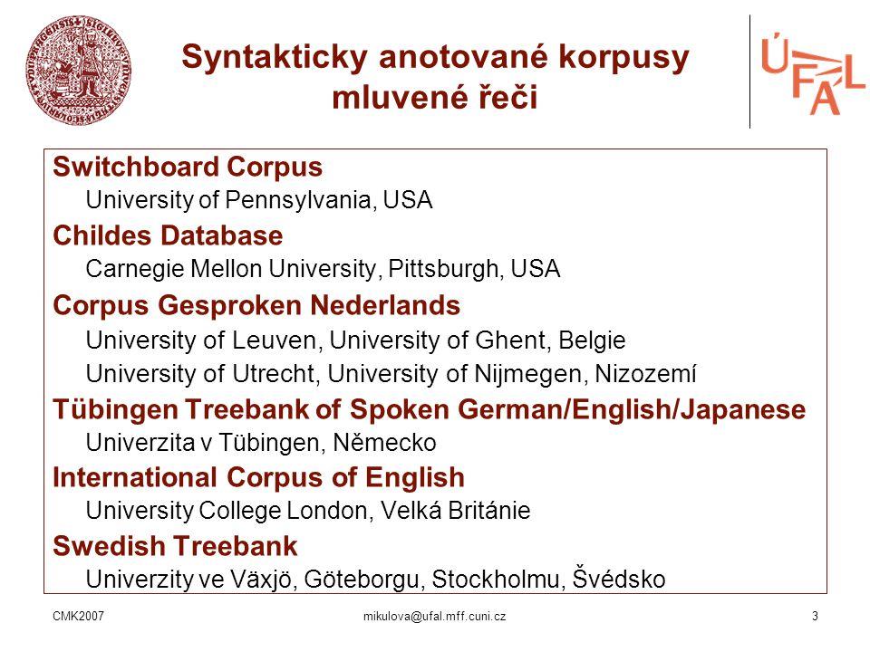 Syntakticky anotované korpusy mluvené řeči