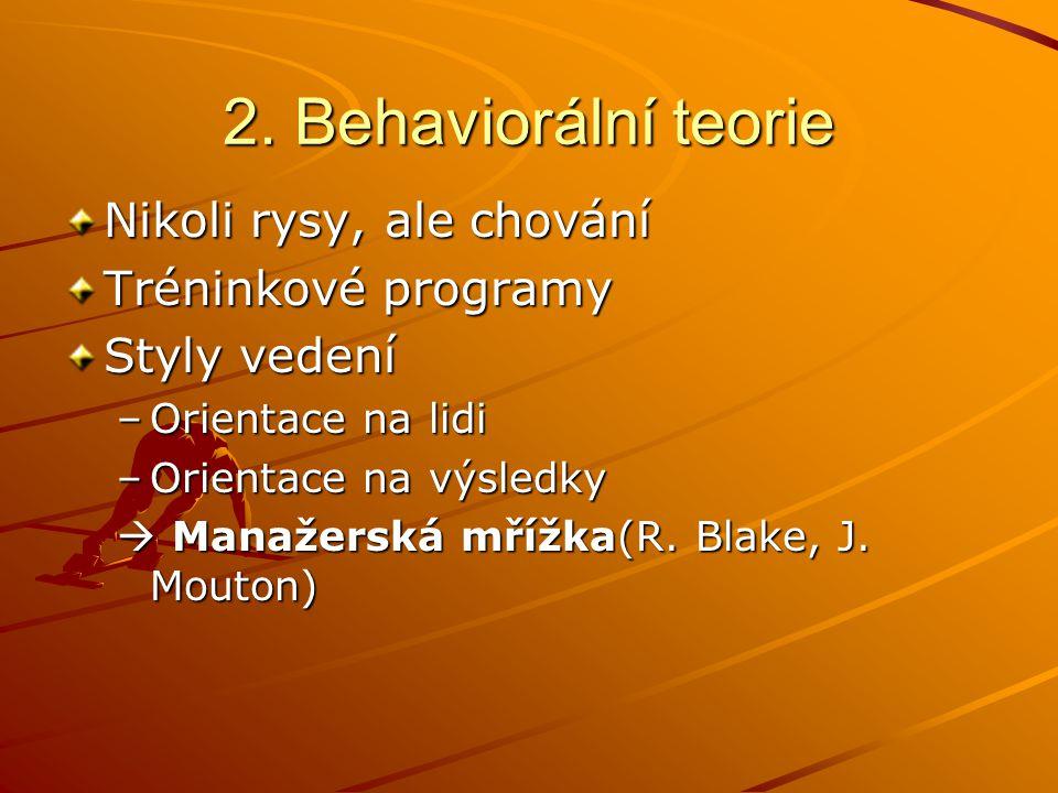 2. Behaviorální teorie Nikoli rysy, ale chování Tréninkové programy