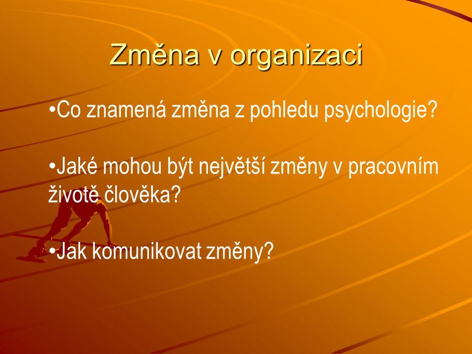 Změna v organizaci Co znamená změna z pohledu psychologie