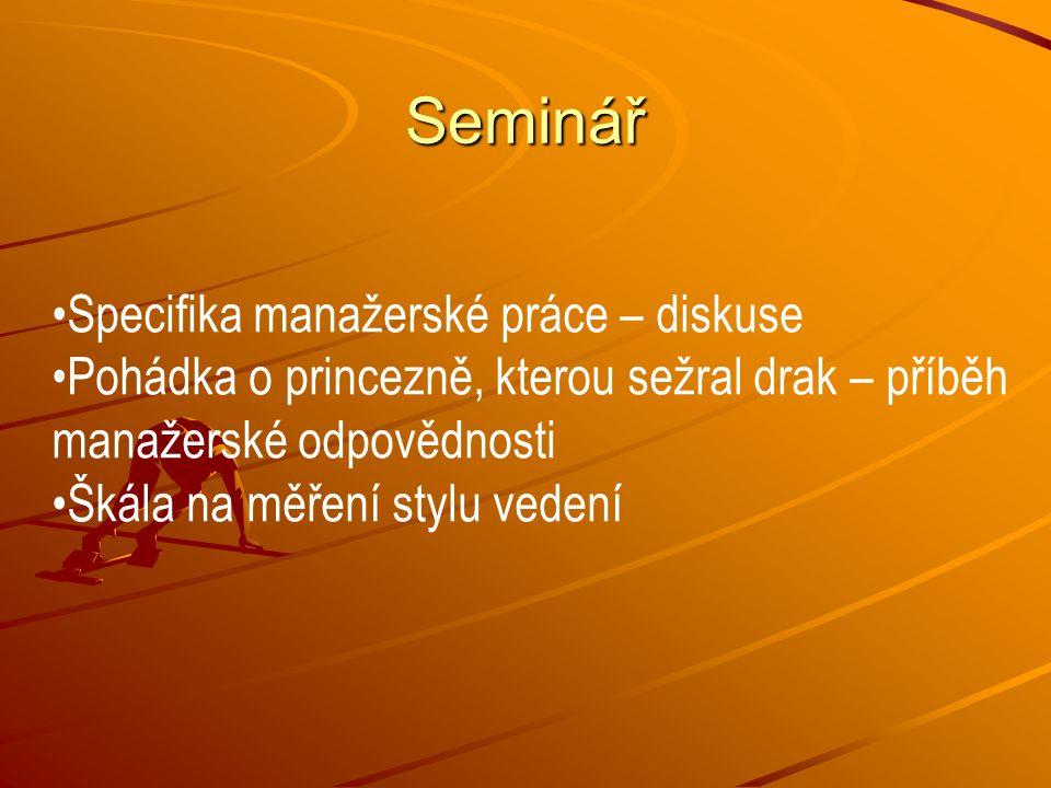 Seminář Specifika manažerské práce – diskuse