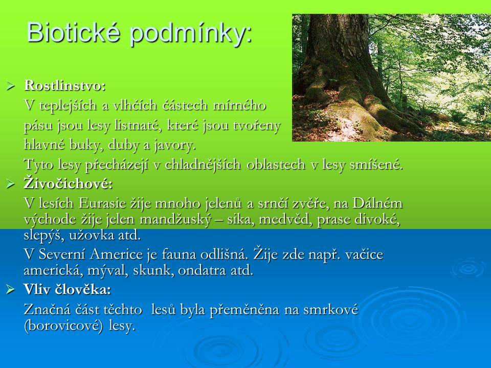 Biotické podmínky: Rostlinstvo: V teplejších a vlhčích částech mírného