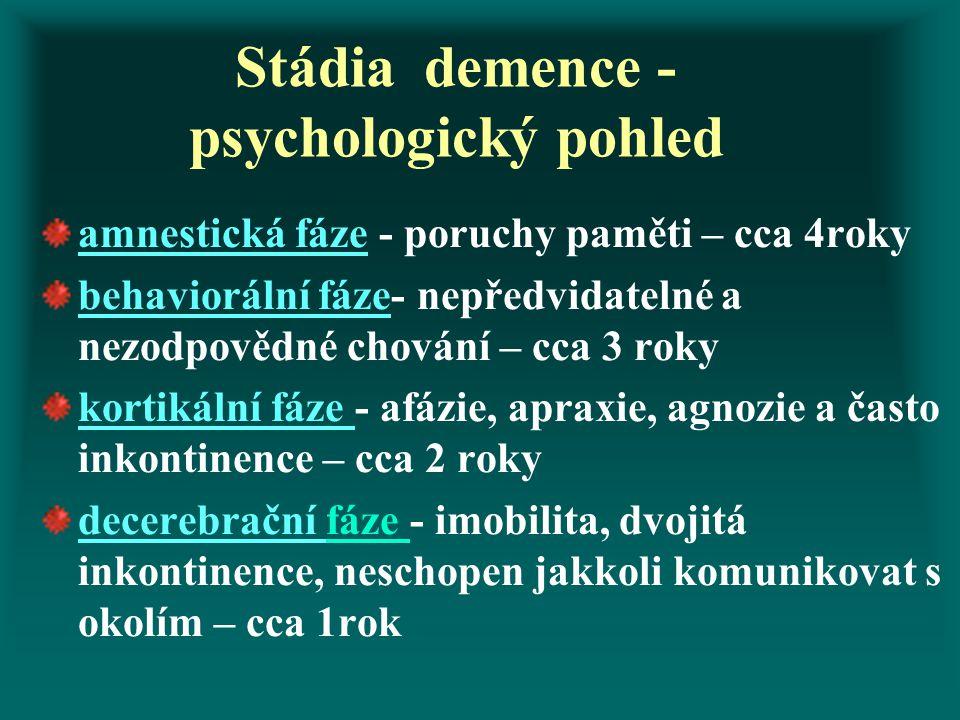 Stádia demence - psychologický pohled