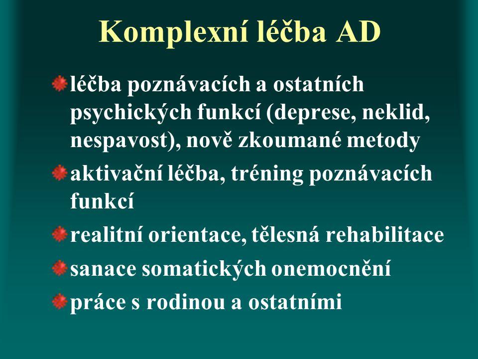 Komplexní léčba AD léčba poznávacích a ostatních psychických funkcí (deprese, neklid, nespavost), nově zkoumané metody.