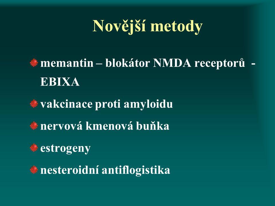 Novější metody memantin – blokátor NMDA receptorů - EBIXA