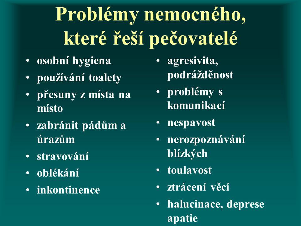 Problémy nemocného, které řeší pečovatelé