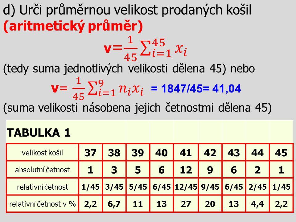 d) Urči průměrnou velikost prodaných košil (aritmetický průměr)