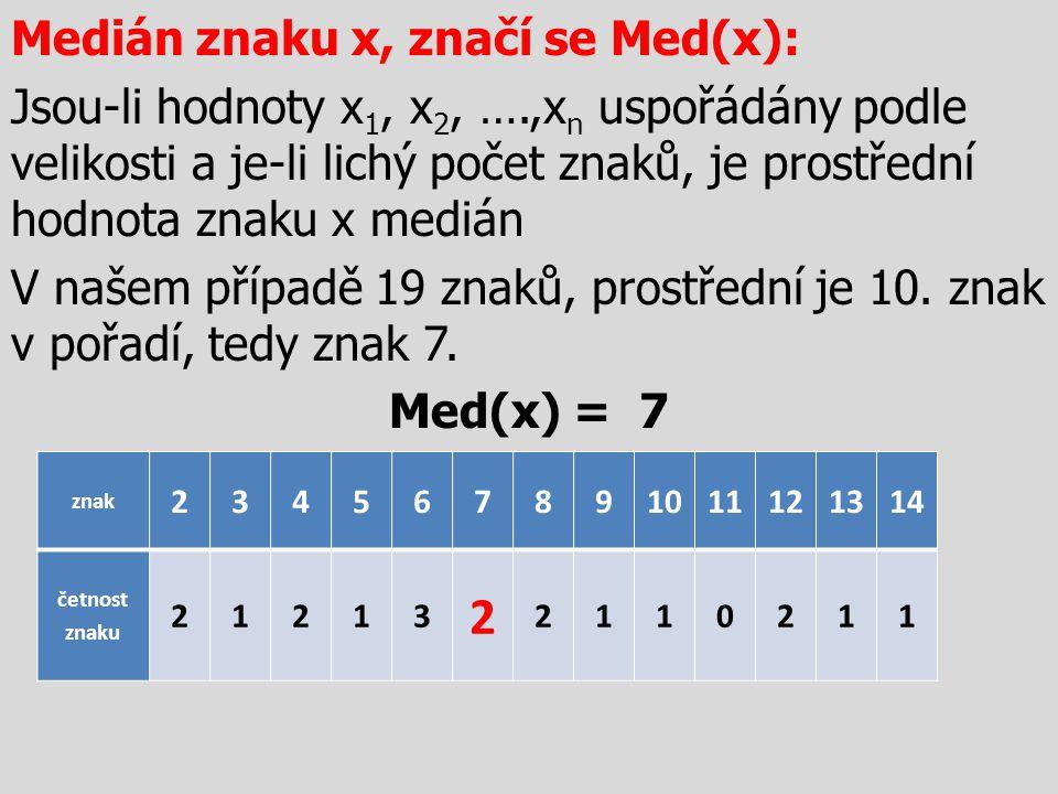 Medián znaku x, značí se Med(x): Jsou-li hodnoty x1, x2, …