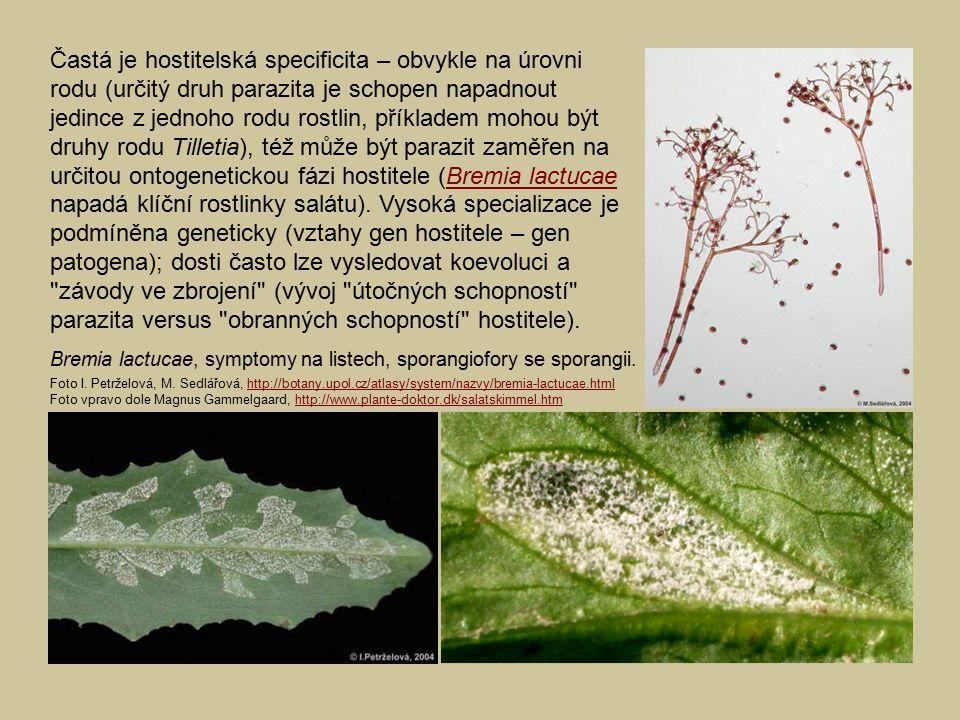 Častá je hostitelská specificita – obvykle na úrovni rodu (určitý druh parazita je schopen napadnout jedince z jednoho rodu rostlin, příkladem mohou být druhy rodu Tilletia), též může být parazit zaměřen na určitou ontogenetickou fázi hostitele (Bremia lactucae napadá klíční rostlinky salátu). Vysoká specializace je podmíněna geneticky (vztahy gen hostitele – gen patogena); dosti často lze vysledovat koevoluci a závody ve zbrojení (vývoj útočných schopností parazita versus obranných schopností hostitele).