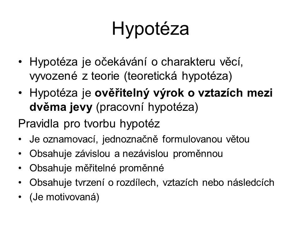 Hypotéza Hypotéza je očekávání o charakteru věcí, vyvozené z teorie (teoretická hypotéza)