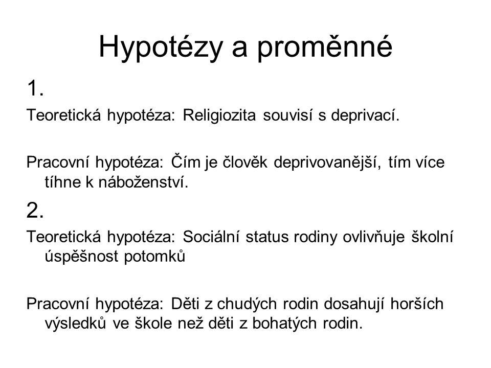 Hypotézy a proměnné 1. Teoretická hypotéza: Religiozita souvisí s deprivací.