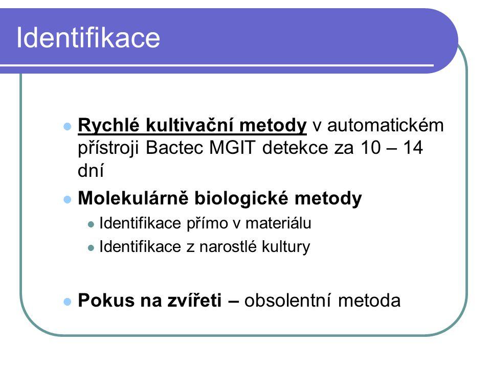 Identifikace Rychlé kultivační metody v automatickém přístroji Bactec MGIT detekce za 10 – 14 dní. Molekulárně biologické metody.