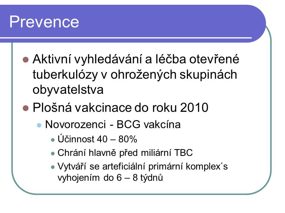 Prevence Aktivní vyhledávání a léčba otevřené tuberkulózy v ohrožených skupinách obyvatelstva. Plošná vakcinace do roku 2010.