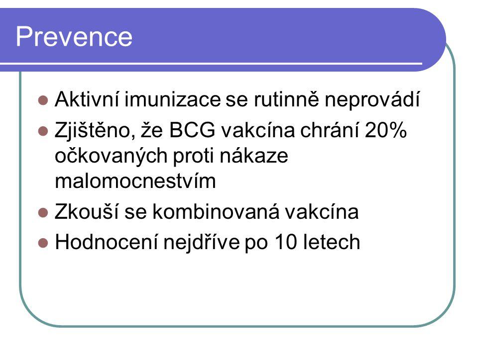 Prevence Aktivní imunizace se rutinně neprovádí