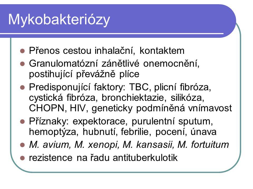 Mykobakteriózy Přenos cestou inhalační, kontaktem