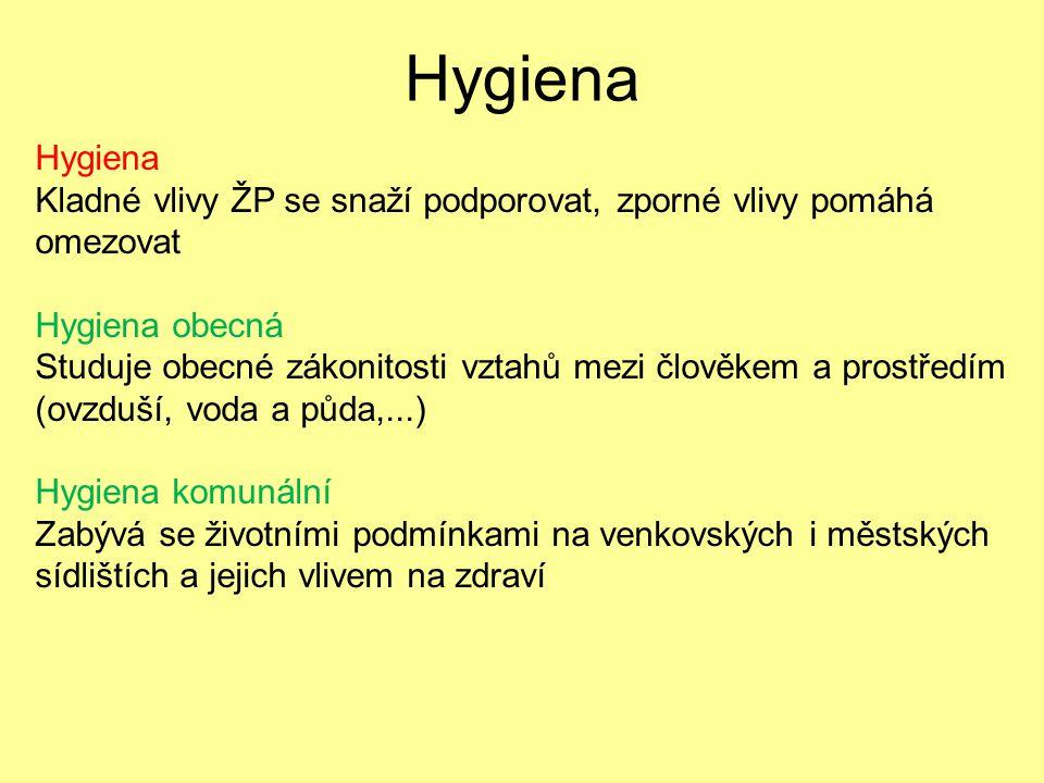 Hygiena Hygiena. Kladné vlivy ŽP se snaží podporovat, zporné vlivy pomáhá omezovat. Hygiena obecná.
