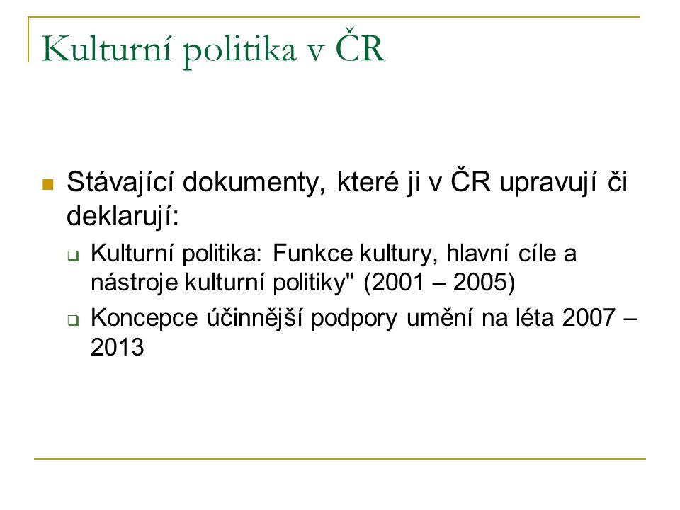 Kulturní politika v ČR Stávající dokumenty, které ji v ČR upravují či deklarují: