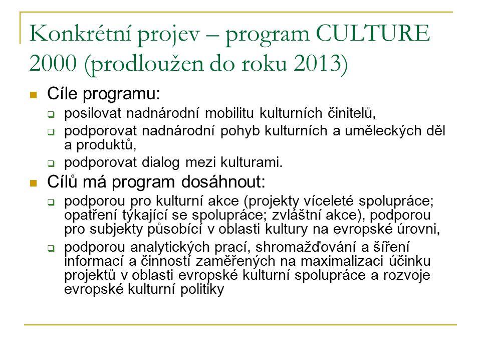 Konkrétní projev – program CULTURE 2000 (prodloužen do roku 2013)