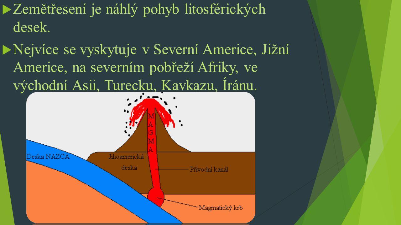 Zemětřesení je náhlý pohyb litosférických desek.