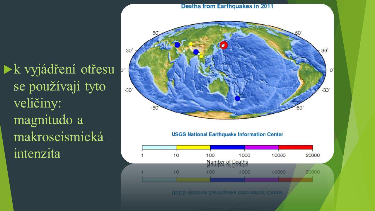 k vyjádření otřesu se používají tyto veličiny: magnitudo a makroseismická intenzita