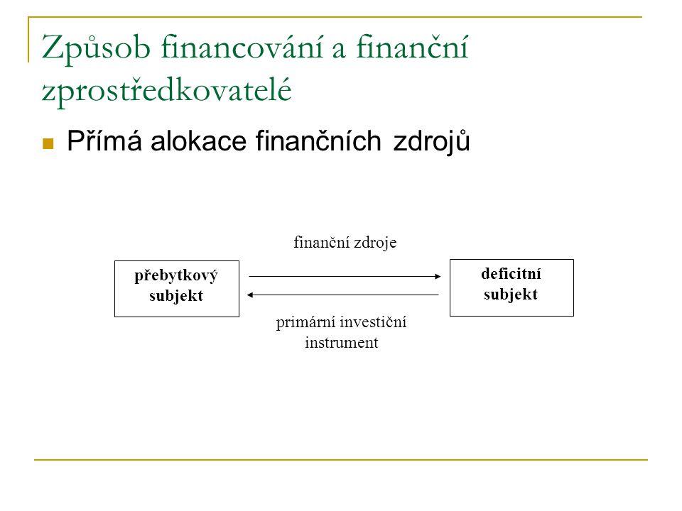 Způsob financování a finanční zprostředkovatelé