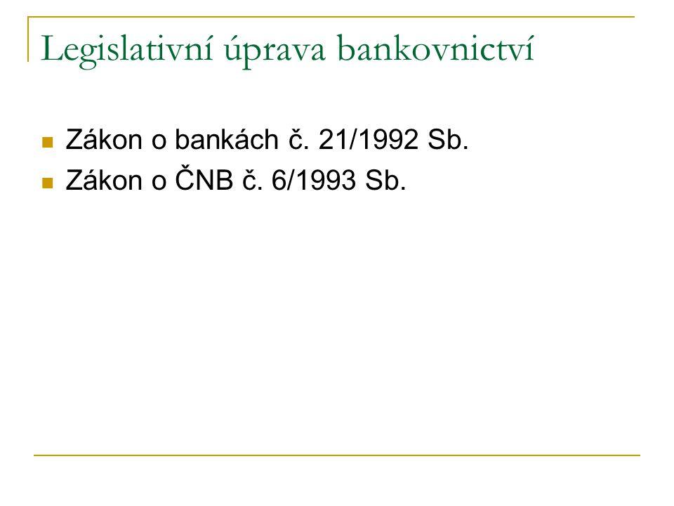 Legislativní úprava bankovnictví