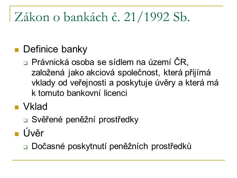 Zákon o bankách č. 21/1992 Sb. Definice banky Vklad Úvěr