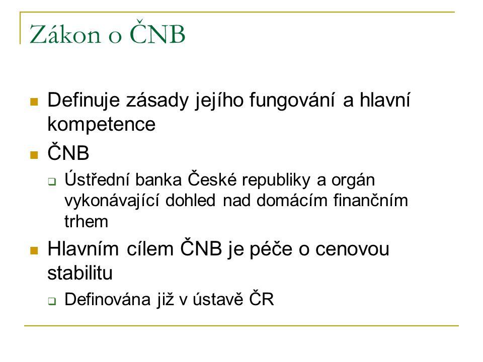 Zákon o ČNB Definuje zásady jejího fungování a hlavní kompetence ČNB